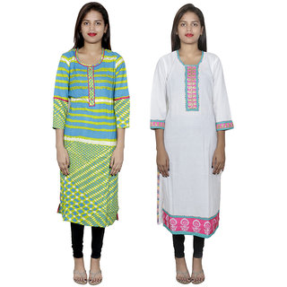 IndiWeaves Pack of 2 Multicolor Printed Cotton Stitched Kurti