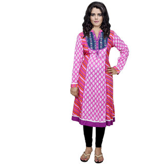 IndiWeaves Pink Printed Cotton Stitched Kurti