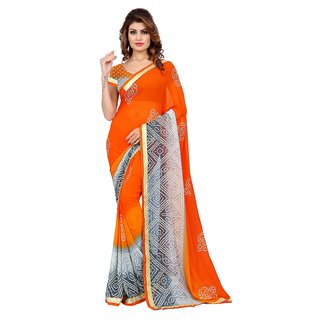 glamour fashion Orange And Grey Color Georgette Bandhani Print Saree