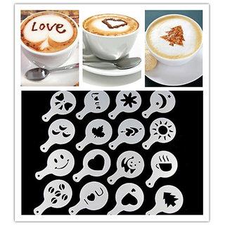 CPEX 16Pcs Creative Nice Coffee Barista Stencils Template Strew Pad Duster Spray Art