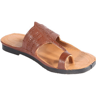Major's Brown Ring Toe Kolhapuri Chappals for Men