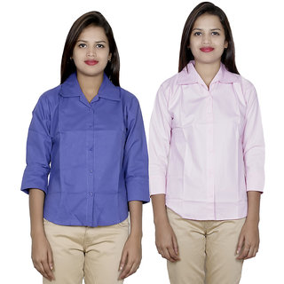 IndiWeaves Women's 2 Solid Cotton Shirts Combo (Pack of 2 Shirts)