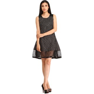 Snoby Black Crepe dotted Short Dress (SBY6070)
