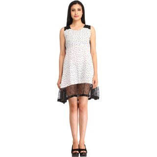 Snoby White Crepe Star print Short Dress (SBY6080)