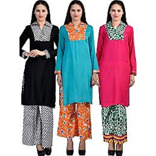 Long Kurtis with matching Palazo for new trend fashion Pack of 3