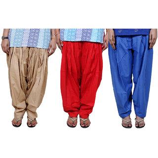 IndiWeaves Women's Cotton Patiala Salwar Combo (Pack of 3 Salwar)