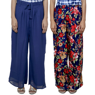 IndiWeaves Women's Georgette and Polyester Pallazo Combo (Pack of 2)