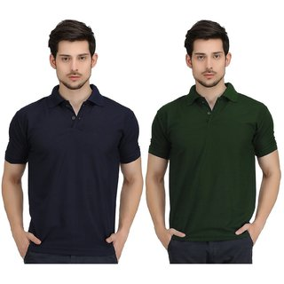 A2K Plain Multi Polo T shirts Pack of 2 ideal for Mens