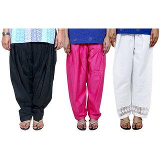 Buy IndiWeaves Women s Cotton Patiala Salwar Combo (Pack of 3 Salwar ... 30442f782