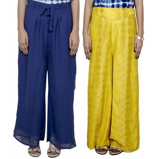 IndiWeaves Women's Georgette and Net Pallazo Combo (Pack of 2)