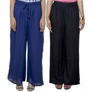 IndiWeaves Women's Georgette and Rayon Pallazo Combo (Pack of 2)