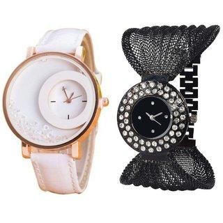 Hans EnterpriseWhite Simple Diamond Dial Leather  Black Zula Metal Analog Watch For Women  Girls Pack Of 2