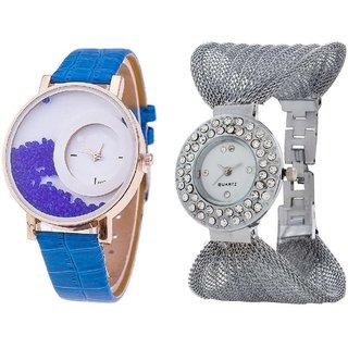 Hans EnterpriseBlue Simple Diamond Dial Leather  Silver Zula Metal Analog Watch For Women  Girls Pack Of 2