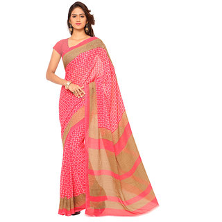 Ambaji Orange Georgette Printed Saree With Blouse