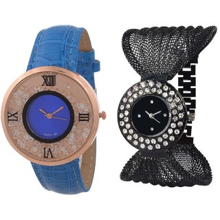 Hans EnterpriseBlue Free Moving Diamond Dial Leather  Black Zula Metal Analog Watch For Women  Girls Pack Of 2