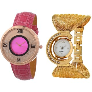 Hans EnterprisePink Free Moving Diamond Dial Leather  Gold Zula Metal Analog Watch For Women  Girls Pack Of 2