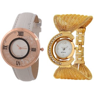 Hans EnterpriseWhite Free Moving Diamond Dial Leather  Gold Zula Metal Analog Watch For Women  Girls Pack Of 2