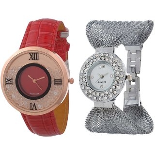 Hans EnterpriseRed Free Moving Diamond Dial Leather  Silver Zula Metal Analog Watch For Women  Girls Pack Of 2