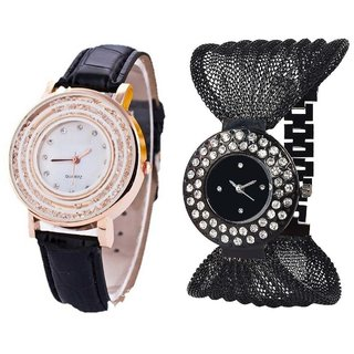 Hans EnterpriseBlack Fancy New Diamond Dial Leather  Black Zula Metal Analog Watch For Women  Girls Pack Of 2