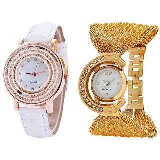 Hans EnterpriseWhite Fancy New Diamond Dial Leather  Gold Zula Metal Analog Watch For Women  Girls Pack Of 2