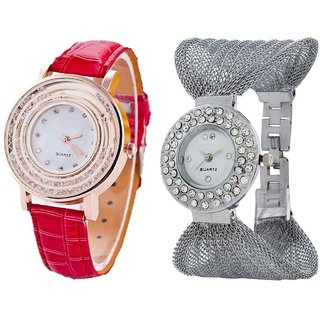 Hans EnterpriseRed Fancy New Diamond Dial Leather  Silver Zula Metal Analog Watch For Women  Girls Pack Of 2