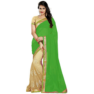 BuyOnn Women's Saree Georgette Embroidered With Unstiched Blouse (GreenFree SizeCombo of 1)
