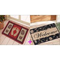 Saral Home Premium Quality Anti Slip Jute Door Mat (15X23 Inches)  2 PC SET