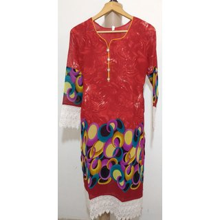 BiTS24391 Red Color Georgette Kurti