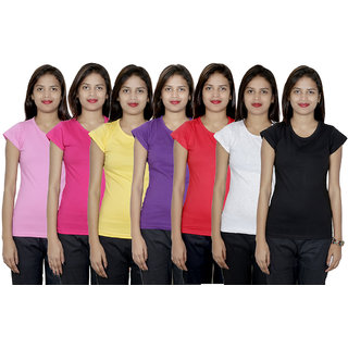 IndiWeaves Women's 7  Cotton Solid T-Shirts  (Pack of 7 T-Shirts)