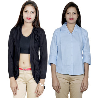 IndiWeaves Women's Viscose Shrug with Cotton Shirt (Pack of 1 Shrug with 1 Shirt)