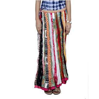 Indiweaves Women's Cotton MultiColor Printed  Full Length Skirt