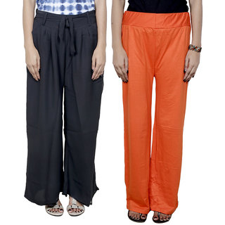 IndiWeaves Women's Georgette and Shimmer Pallazo Combo (Pack of 2)