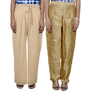 IndiWeaves Women's Georgette and Jalaval 1 Pallazo With 1 Boot Cut Pant Combo (Pack of 2)