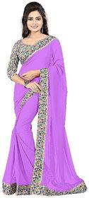 Bhuwal Fashion Purple Chiffon Printed Saree With Blouse