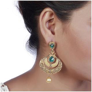 Prizeta Green Alloy Ethnic Women Drop Earring