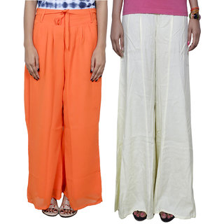 IndiWeaves Women's Georgette and Cotton Pallazo Combo (Pack of 2)