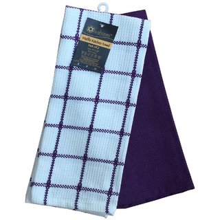 Lushomes Purple Waffle Kitchen Towel (Pack of 2)