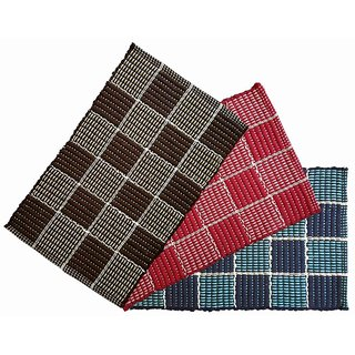 Living Creation Stylish Multi Set of 3 Door Mat