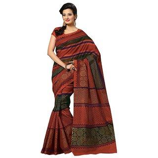 Fabdeal Daily Wear Orange Printed Cotton Saree/Sari