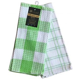 Lushomes Green Waffle Kitchen Towel (Pack of 2)