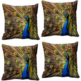 IndiWeaves Micro Polyester Digital Printed Cushion Cover Combo (Pack of 4 Cushion Cover)(Size- 12X12 Inches)