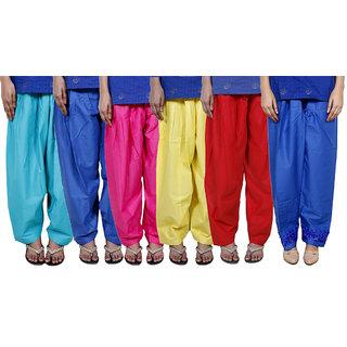 IndiWeaves Women's Cotton Patiala Salwar Combo 6 (Pack of 6 Salwar)