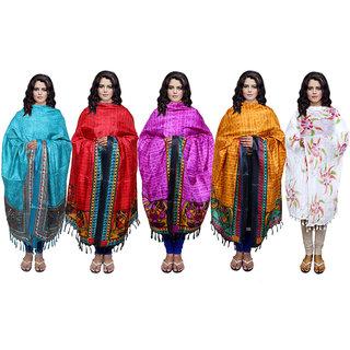 IndiWeaves Women's Dupatta Combo 5(Pack of 4 Silk and 1 Cotton Dupatta)