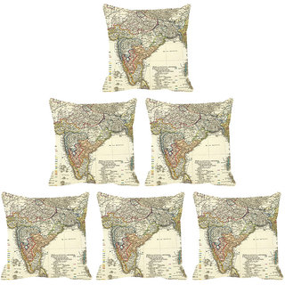 IndiWeaves Micro Polyester Digital Printed Cushion Cover Combo (Pack of 6 Cushion Cover)(Size- 12X12 Inches)