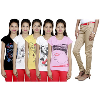 IndiWeaves Women's T-Shirts and Trouser (Size - 32) Combo Pack (Pack of  5 T-Shirt With 1 Women's Trouser)