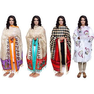 IndiWeaves Women's Dupatta Combo 4(Pack of 3 Silk and 1 Cotton Dupatta)