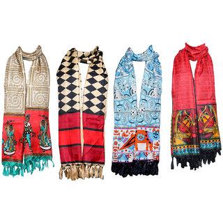 IndiWeaves Women's BhagalPuri Silk Dupata Combo 4(Pack of 4 Different Design Dupatta)