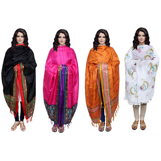 IndiWeaves Women's Dupatta Combo 4(Pack of 3 Silk and 1 Cotton Dupatta)