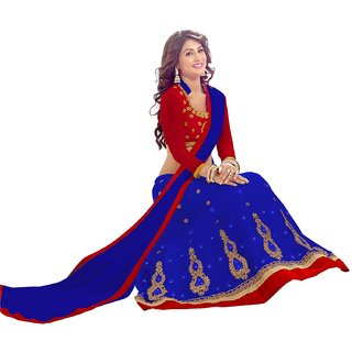 Aaina Blue Net Semistiched Embroidered Lehenga (AN1086)