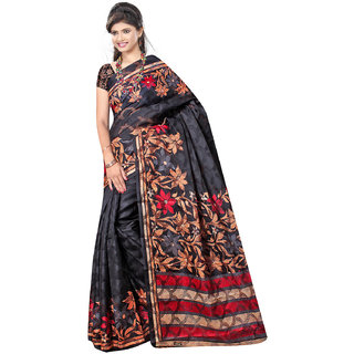 DesiButik's  Black Brasso Saree with Blouse VSM9